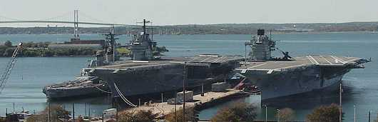 The ex-USS SARATOGA (CV-60 - right), alongside the ex-USS FORRESTAL (CV-59 - middle), and the ex-USS IOWA (BB-61 - left)